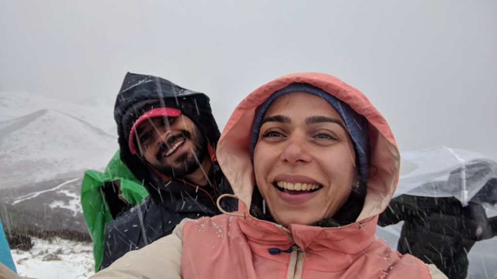 First snowfall of the trek at Dzongri top, called for a snow party