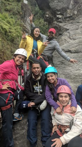 With friends at Tenzing Rock